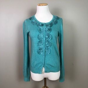Boden Turquoise Cashmere Blend Cardigan Size 8